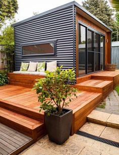 Container House - Deck idea - I like the horizontal metal and wood combo! - Who Else Wants Simple Step-By-Step Plans To Design And Build A Container Home From Scratch? Container Home Designs, Backyard Studio, Backyard Patio, Backyard Ideas, Backyard Retreat, Backyard Office, Outdoor Office, Shed Deck Ideas, Flat Deck Ideas