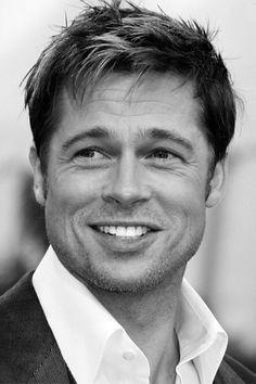 Brad Pitt beautiful smile with white teeth.