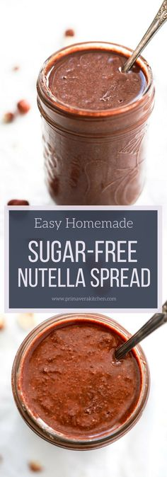 Easy Homemade Sugar-Free Nutella Spread #glutenfree #sugarfree #paleo #lowcarb #healthydessert #chocolatepread #dairyfree
