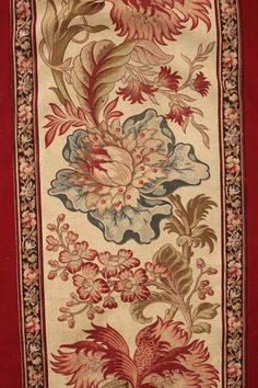 Lovely red ground, antique French curtain panel with Indienne block printed cotton border ~ lovely designs from 19th century France ~ www.textiletrunk.com: