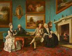 The Dutton Family at Cards (Jane Dutton, 1753–1800, Mrs Thomas William Coke; James Lenox Dutton, c.1713–1776; James Dutton, 1744–1820, 1st Baron Sherborne; and Jane Bond, c.1712–1776, Mrs James Lenox Dutton) by Johann Zoffany (after)