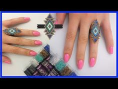DIY decorating brick stitch ring how to brick stitch brick sti Diy Jewelry Rings, Diy Jewelry Unique, Diy Jewelry To Sell, Beaded Rings, Jewelry Art, Beaded Earrings Patterns, Bracelet Patterns, Beading Patterns, Brick Stitch Tutorial