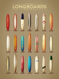 A Colorful Chart Of Surfers' Longboards From The 1960s - DesignTAXI.com