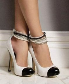 Chanel Stiletto Pumps - Jeweled ombré ankle strap swags above patent white leather with shiny black capped toe and ice pick heel Mode Shoes, Women's Shoes, Me Too Shoes, Shoe Boots, Prom Shoes, Wedding Shoes, Shoes Sneakers, Converse Shoes, Zara Shoes