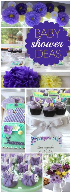 Here's a sweet, feminine baby shower in lilac and yellow!  See more party ideas at CatchMyParty.com!