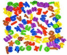 36 unids/set (26 Cartas + 10 Números) pegatinas de letras de espuma de baño animales juguete de los niños juguetes de Baño de agua