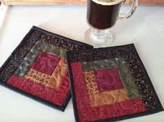 Log Cabin Quilted Mug Rugs Candle Mats