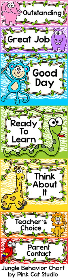 This fun Jungle Theme behavior clip chart will look fantastic in your classroom! Your kindergarten students will be excited to behave well and move their clip up the chart. Editable to meet your needs. Behavior Clip Charts, Behaviour Chart, Classroom Jobs, Classroom Activities, Classroom Decor, Jungle Theme Classroom, Rainforest Classroom, Fun Educational Games, Animals