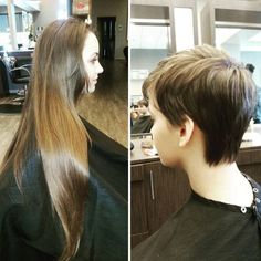 Before and After long hair cut to pixie style