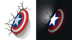 Captain America Nightlight – $29.99 Forget about lighting up your room with a boring nightlight because the 3D Wall Art Captain America Nightlight makes it look like the first Avenger just slammed his shield through your wall.