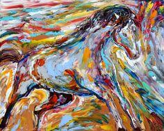 Original painting EQUINE PALETTE KNIFE Horse Oil by Karensfineart