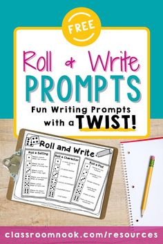 Grab your FREE Roll & Write Writing Prompt for upper elementary students! These fun writing prompts help turn traditional writing prompts into a game. Using this fun Roll & Write activity freebie and a simple die, students have endless ideas for their next story! Put it at your next writing center or use it with your fast finishers for an easy-prep activity! Includes teacher directions, two differentiated writing prompt sheets. Grab it for free today for 3rd, 4th, & 5th grade!! Fun Writing Prompts, Writing Games, Cool Writing, Teaching Writing, Writing Ideas, Writing Activities, New Vocabulary Words, Vocabulary Practice, Elementary Education