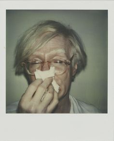 Just a polaroid of Andy Warhol sneezing