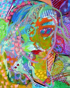 """Xerado: """"Feminine Mystique"""" - acrylic on canvas - 24"""" w x 30"""" h - 61 x 76 cm - She's a flower child"""