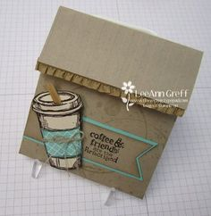 Coffee Cup Fun-Fold Gift Card from Flowerbug's Inkspot. When you lift the flap on top, a centre piece slides up to reveal the gift card, brilliant!!