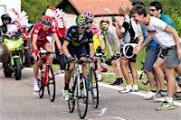Giro d'Italia 2016 Stage 16: Near the finish, Alejandro VALVERDE (MOVISTAR) leading Steven KRUIJSWIJK (LOTTO NL - JUMBO) and Ilnur ZAKARIN (KATUSHA)