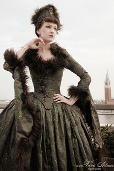 Russian aristocrat beauty in fur dress