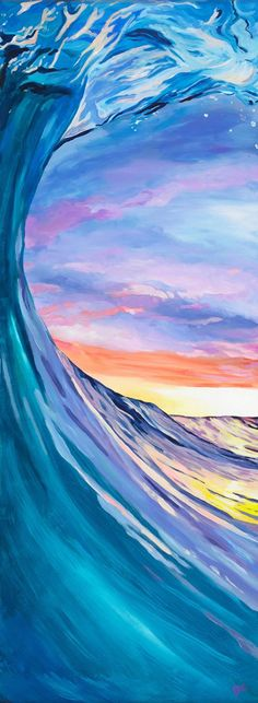 San Diego Sunset Wave Painting Print by CreatedbyBre on Etsy Acrylic Painting Flowers, Boat Painting, Painting Prints, Surfing Painting, Wave Paintings, Sunset Paintings, Ocean Wave Painting, Beach Sunset Painting, Sunset Surf