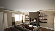 nice frameless fire and eye level tv fake chimney breast and shelving