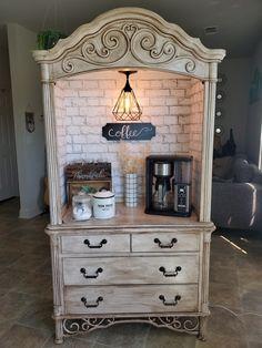 Re purposed armoir into coffee bar Diy Furniture Renovation, Refurbished Furniture, Repurposed Furniture, Furniture Projects, Furniture Making, Furniture Makeover, Painted Furniture, Hutch Makeover, Bar Furniture