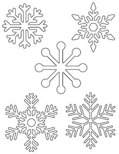 Free Printable Snowflake Templates – Large & Small Stencil P.-Free Printable Snowflake Templates – Large & Small Stencil Patterns 5 small snowflakes on one page to print out for kids activities (tracing, coloring pages, etc) - Snowflake Printables, Snowflake Template, Snowflake Pattern, Free Printables, Snowflake Stencil, Easy Snowflake, Snowflake Outline, Snowflake Silhouette, Snowflake Embroidery