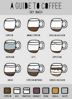 Coffee guide so you know the difference between a latte and a cappuccino! Kona Coffee, Coffee Farm, Coffee Type, I Love Coffee, My Coffee, Coffee Drinks, Coffee Names, Cute Coffee Shop, Espresso Drinks