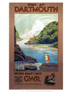 Vintage Travel Poster - UK - Dartmouth - Railway