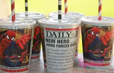 Spiderman Party Cups-Set of 8 on Etsy, $10.40
