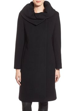 Cinzia Rocca DUE Envelope Collar Long Wool & Cashmere Blend Coat (Petite) available at #Nordstrom