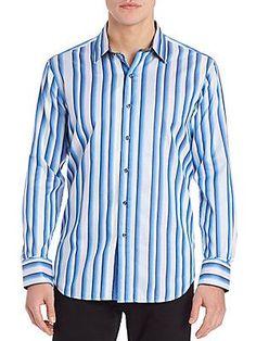 Robert Graham Striped Wind Park Shirt - Blue - Size