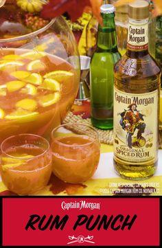 Fall is the perfect time for sharing. Coincidently, fall is the perfect time for Captain's Rum Punch.  Rum Punch Recipe (25 servings): 750mL bottle of Captain Morgan Original Spiced Rum 2 x 46 oz cans of pineapple juice 3 cups orange juice 4.5 oz grenadine 3 cans of lemon-lime soda 3 sliced oranges Get more rum recipes at https://us.captainmorgan.com/rum-cocktails/?utm_source=pinterest&utm_medium=social&utm_term=holidays&utm_content=rum_punch_hero&utm_campaign=recipe