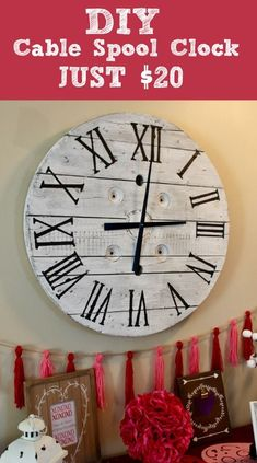 - Farmhouse clocks are all the rage right now. But I couldn't swallow the high price tags. This DIY Farmhouse clock is a great affordable option for even the. Wooden Spool Crafts, Wood Spool, Pallet Crafts, Wood Crafts, Pallet Clock, Pallet Wood, Farmhouse Clocks, Farmhouse Ideas, Farmhouse Style