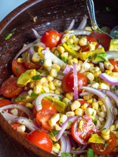 It's all about balance of flavor and texture, and this salad has it all. 12 Tomatoes Recipes, Veggie Recipes, Salad Recipes, Cooking Recipes, Healthy Recipes, Yummy Recipes, Avacado Corn Salad, Avocado Tomato Salad