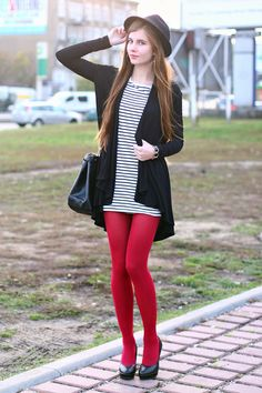 pantyhose, tights, shoes, outfits, dresses or skirts Nylons, Red Pantyhose, Pantyhose Outfits, Winter Outfit For Teen Girls, Cute Winter Outfits, Outfits For Teens, Casual Outfits, Short Mini Dress, Short Dresses