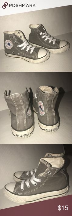 Kids 10.5 Converse All Stars high tops sneakers Please look at my other items to bundle!   Kids size 10.5 Converse All Stars high top sneakers. Worn one time so in excellent condition. Comes from smoke and pet free home. Thanks for looking! Converse Shoes Sneakers