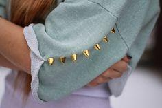 Studded Cut Sweatshirt Top Mint One Arm. $30.00, via Etsy.