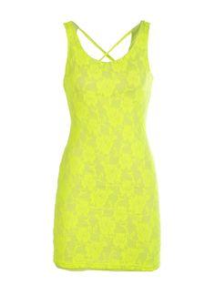 Neon Lace X-Back Dress - New