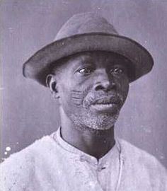 old slave | Portrait of a man with tribal scarification, Bahia, Brazil, 1860
