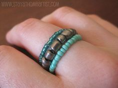stretchy stackable seed bead ring tutorial
