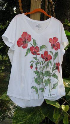 Handpainted+Poppies+VNeck+TShirt+XXL+by+RobertasPaintedHouse,+$39.99