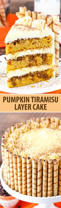 Tiramisu Layer Cake Pumpkin Tiramisu Layer Cake - pumpkin cake, kahlua and espresso, tiramisu filling and mascarpone frosting!Pumpkin Tiramisu Layer Cake - pumpkin cake, kahlua and espresso, tiramisu filling and mascarpone frosting! Fall Desserts, Just Desserts, Delicious Desserts, Italian Desserts, Christmas Desserts, Italian Recipes, Baking Recipes, Cake Recipes, Dessert Recipes