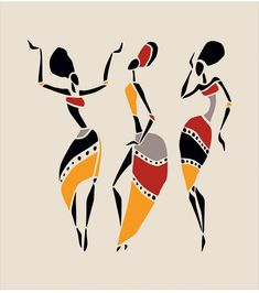 Illustration about Figures of african dancers. Dancing woman in ethnic style. Illustration of characters, african, nature - 50265393 Arte Tribal, Tribal Art, African Art Paintings, African Drawings, Afrique Art, Fabric Paint Designs, Art Premier, Madhubani Art, Black Girl Art