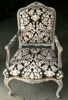 This is the kind of chairs I want as extras in the bedroom and livingroom~AV Fabric Dining Room Chairs, Chair Fabric, Create Your Own Furniture, Black And White Furniture, Upholstered Furniture, Refinished Furniture, Cozy Chair, Furniture Inspiration, Furniture Ideas