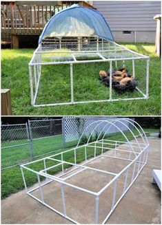 Build your own cheap chicken tractor using PVC Pipe, Check these 10 free DIY PVC chicken tractor plans to make a portable chicken tractor! A Frame Chicken Coop, Easy Chicken Coop, Diy Chicken Coop Plans, Chicken Pen, Chicken Garden, Chicken Coop Designs, Backyard Chicken Coops, Chickens Backyard, Chicken Run Ideas Diy