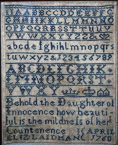 English embroidered sampler by Elizabeth Laidman, produced in 1760.