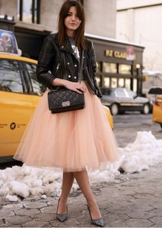 This is a perfect outfit, I love yhe cross of tough chick with the black leather jacket and t-shirt and combining it with a very feminine piece, a ballerina tulle skirt ♥ added with the essential basics of gun metal purse and those heels ♥ I give it a 10!