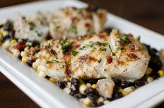 This was incredible - used mahi. Foil Wrapped Fish with black beans and corn