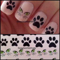 Black Cat Paw Nail Art Water Decals/Transfers on Bonanza Cat Nail Designs, Nail Polish Designs, Cat Nail Art, Cat Nails, Fancy Nails, Pretty Nails, Nails For Kids, Fabulous Nails, Nail Arts