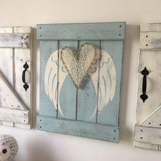 ANGEL WING DECOR 18x14 rustic angel wings by ElevenOwlsStudio