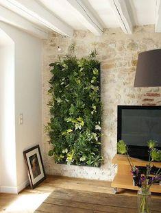 35 Ideas Decor Wall Stone Interior Design For 2019 Vertical Garden Design, Vertical Gardens, Vertical Bar, Stone Interior, Interior Garden, Plant Wall, Plant Decor, Living Room Decor Green Walls, Living Rooms
